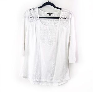 Cupio White Lace Light Weight 3/4 Length Top 006-3